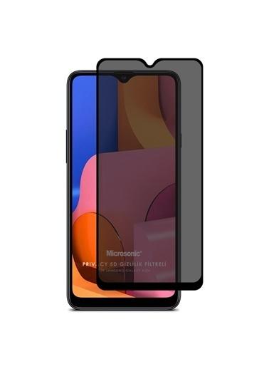 Microsonic Samsung Galaxy A20s Privacy 5D Gizlilik Filtreli Cam Ekran Koruyucu Siyah Siyah